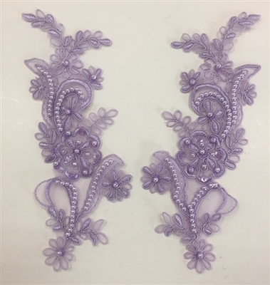 APL-BED-108-LILAC-PAIR. Beaded Applique - Lilac - 9.x 3 Inch - A Pair