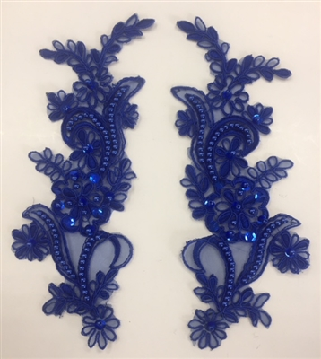 APL-BED-108-ROYALBLUE-PAIR. Beaded Applique - Royal Blue- 9 x 3 Inch - A Pair