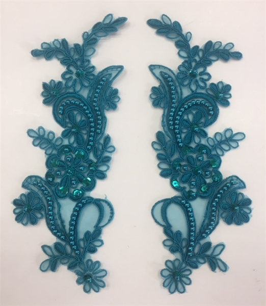 APL-BED-108-TEAL-PAIR. Beaded Applique - Teal- 9 x 3 Inch - A Pair