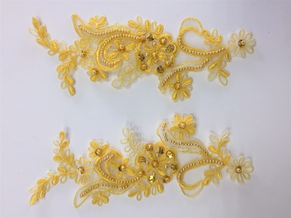 APL-BED-108-YELLOW-PAIR. Beaded Applique - Yellow - 9 x 3 Inch - A Pair