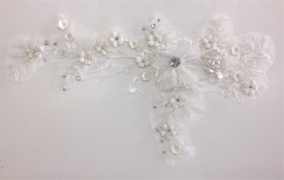 "APL-BED-109-OFFWHITE. Embroidered Beaded Applique with Rhinestone and Sequin on Net. - Off-White - 14"" x 8"" - Each $6.00"