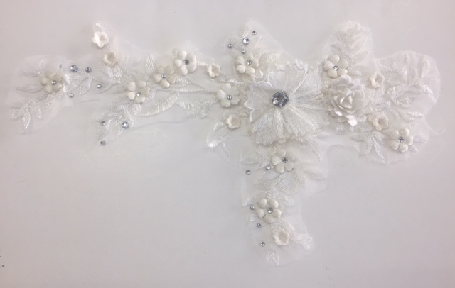Apl bed offwhite embroidered beaded applique with rhinestone