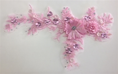 "APL-BED-109-PINK. Embroidered Beaded Applique with Rhinestone and Sequin on Net. - Pink - 14"" x 8"" - Each $6.00"