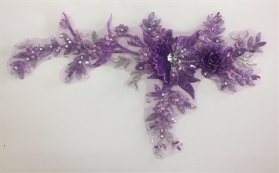 "APL-BED-109-PURPLE. Embroidered Beaded Applique with Rhinestone and Sequin on Net. - Purple - 14"" x 8"" - Each $6.00"