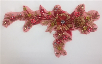 "APL-BED-109-RED. Embroidered Beaded Applique with Rhinestone and Sequin on Net. - Red - 14"" x 8"" - Each $6.00"
