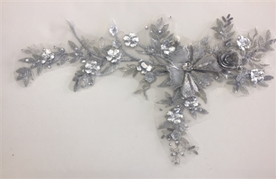 "APL-BED-109-SILVER. Embroidered Beaded Applique with Rhinestone and Sequin on Net. - Silver - 14"" x 8"" - Each $6.00"