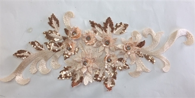 "APL-BED-115-CHAMPAGNE.  Beaded Applique with Rhinestone and Sequin on Net.  - Champagne - 16"" x 7"" - Each $5.75"