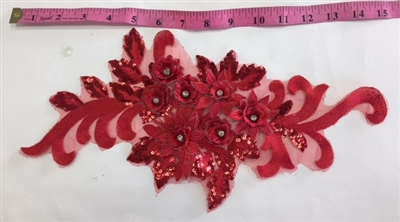 "APL-BED-115-RED.  Beaded Applique with Rhinestone and Sequin on Net.  - Red - 16"" x 7"" - Each $5.75"