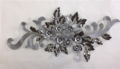 "APL-BED-115-SILVER.  Beaded Applique with Rhinestone and Sequin on Net.  - Silver - 16"" x 7"" - Each $5.75"