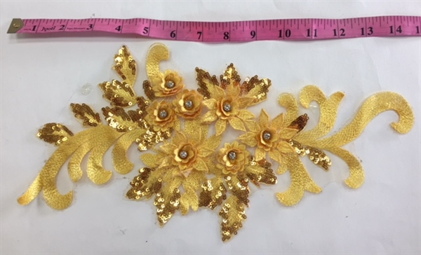 "APL-BED-115-YELLOW. Beaded Applique with Rhinestone and Sequin on Net. - Yellow- 16"" x 7"" - Each $5.75"