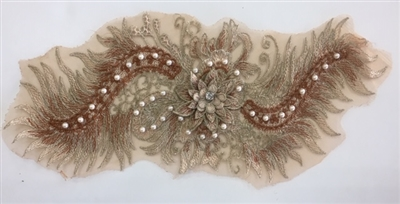 "APL-BED-116-BROWN. Beaded Applique with Pearls on Net. - Brown - 15.5"" x 6.5"" - Each $6"