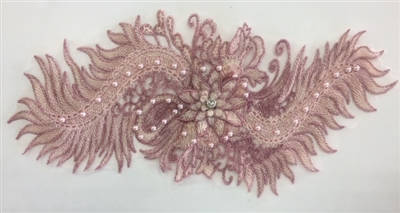 "APL-BED-116-COPPER. Beaded Applique with Pearls on Net. - Copper- 15.5"" x 6.5"" - Each $6"