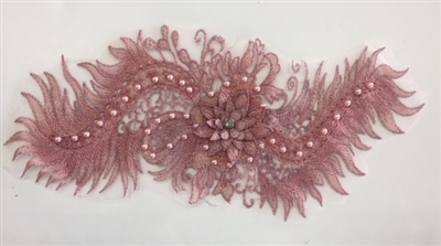 "APL-BED-116-DARKPINK. Beaded Applique with Pearls on Net. - Dark Pink- 15.5"" x 6.5"" - Each $6"
