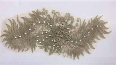 "APL-BED-116-GOLD. Beaded Applique with Pearls on Net. - Gold- 15.5"" x 6.5"" - Each $6"