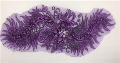 "APL-BED-116-PURPLE. Beaded Applique with Pearls on Net. - Purple- 15.5"" x 6.5"" - Each $6"