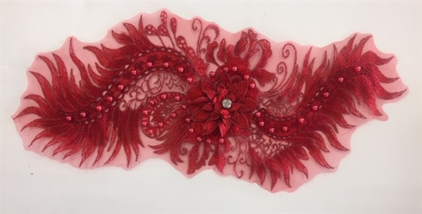 "APL-BED-116-RED. Beaded Applique with Pearls on Net. - Red- 15.5"" x 6.5"" - Each $6"