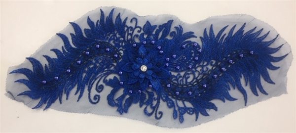 "APL-BED-116-ROYALBLUE. Beaded Applique with Pearls on Net. - Royal Blue- 15.5"" x 6.5"" - Each $6"