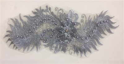 "APL-BED-116-SILVER. Beaded Applique with Pearls on Net. - Silver- 15.5"" x 6.5"" - Each $6"