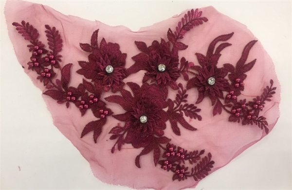 "APL-BED-117-BURGUNDY. Beaded Applique with Rhinestones on Net. - Burgundy - 13.5"" x 8"" - Each $6"