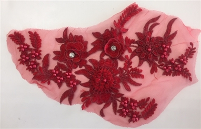 "APL-BED-117-DEEPRED. Beaded Applique with Rhinestones on Net. - Deep Red - 13.5"" x 8"" - Each $6"