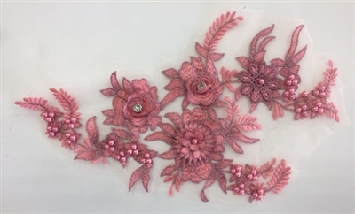 "APL-BED-117-FUCHSIA. Beaded Applique with Rhinestones on Net. - Fuchsia - 13.5"" x 8"" - Each $6"