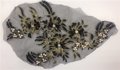 "APL-BED-117-GOLDBLACK. Beaded Applique with Rhinestones on Net. - Gold Black - 13.5"" x 8"" - Each $6"