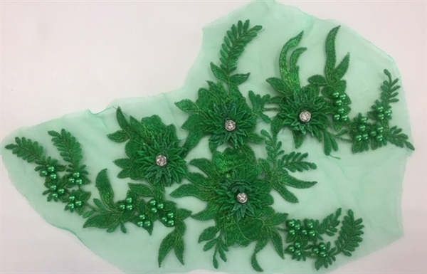 "APL-BED-117-GREEN. Beaded Applique with Rhinestones on Net. - Green - 13.5"" x 8"" - Each $6"