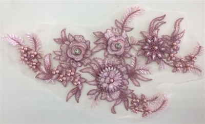 "APL-BED-117-PINK. Beaded Applique with Rhinestones on Net. - Pink - 13.5"" x 8"" - Each $6"