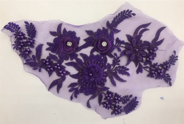 "APL-BED-117-PURPLE. Beaded Applique with Rhinestones on Net. - Purple - 13.5"" x 8"" - Each $6"