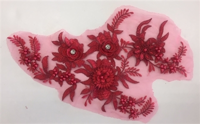 "APL-BED-117-RED. Beaded Applique with Rhinestones on Net. - Red - 13.5"" x 8"" - Each $6"