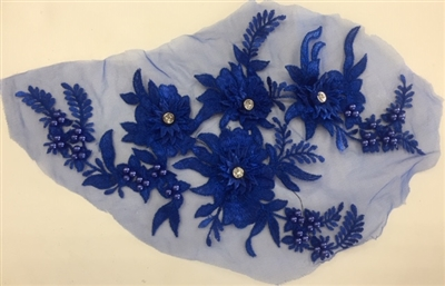 "APL-BED-117-ROYALBLUE. Beaded Applique with Rhinestones on Net. - Royal Blue - 13.5"" x 8"" - Each $6"