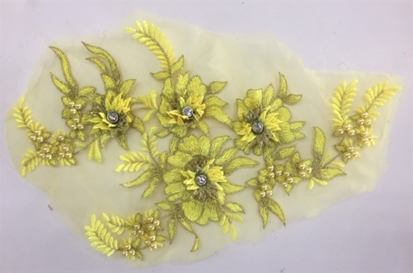 "APL-BED-117-YELLOW. Beaded Applique with Rhinestones on Net. - Yellow - 13.5"" x 8"" - Each $6"