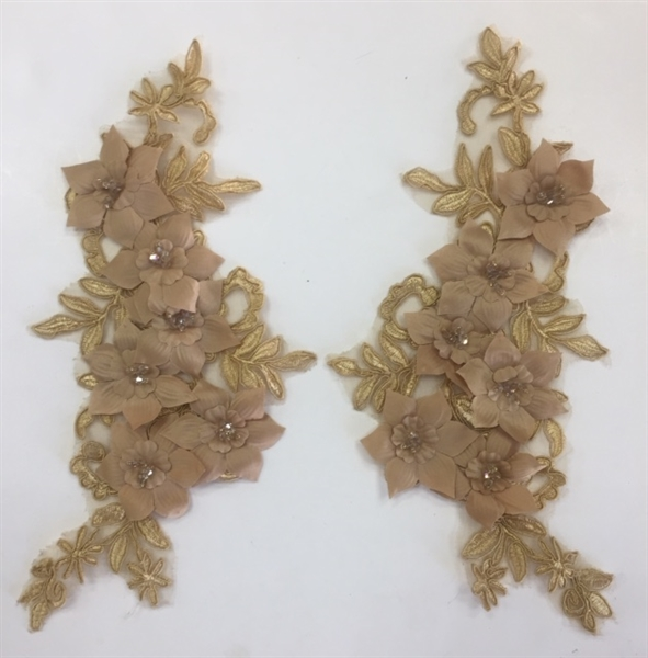 "APL-BED-118-GOLD-PAIR-3D. Pair of Beaded Appliques - 3D on White Net. - GOLD - 12.5"" x 6"" - Pair $7"