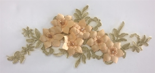 "APL-BED-118-GOLDMETA-SINGLE-3D. Beaded Applique - 3D on White Net. - GOLD METALLIC - 12.5"" x 6"" - Each $4"