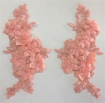 "APL-BED-118-PEACH-PAIR-3D. Pair of Beaded Appliques - 3D on White Net. - PEACH - 12.5"" x 6"" - Pair $7"