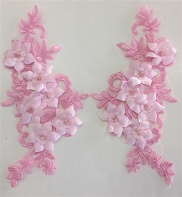 "APL-BED-118-PINK-PAIR-3D. Pair of Beaded Appliques - 3D on White Net. - PINK- 12.5"" x 6"" - Pair $7"