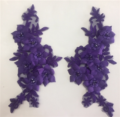 "APL-BED-118-PURPLE-PAIR-3D. Pair of Beaded Appliques - 3D on White Net. - PURPLE- 12.5"" x 6"" - Pair $7"