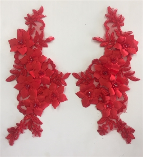 "APL-BED-118-RED-PAIR-3D. Pair of Beaded Appliques - 3D on White Net. - RED- 12.5"" x 6"" - Pair $7"