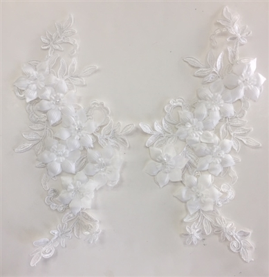 "APL-BED-118-WHITE-PAIR-3D. Pair of Beaded Appliques - 3D on White Net. - WHITE- 12.5"" x 6"" - Pair $7"