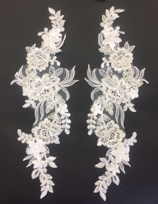 "APL-BED-119-WHITE-PAIR-3D. Pair of Beaded Appliques - 3D on White Net. - WHITE- 13"" x 6"" - Pair $7"