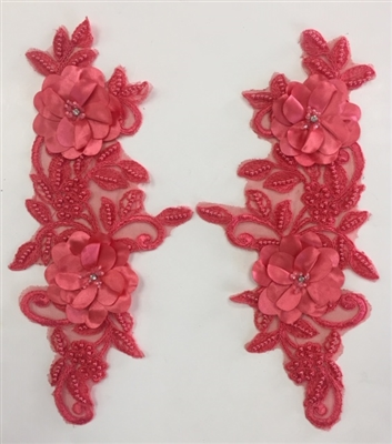 "APL-BED-120-CORAL-PAIR-3D. Pair of Beaded Appliques - 3D on Net. - CORAL- 14.5"" x 4.5"" - Pair $7"