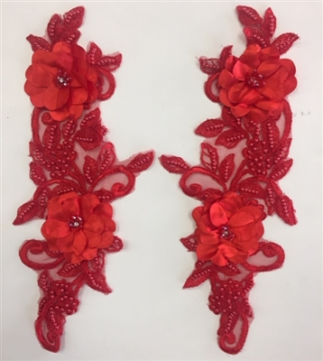"APL-BED-120-RED-PAIR-3D. Pair of Beaded Appliques - 3D on Net. - RED- 14.5"" x 4.5"" - Pair $7"