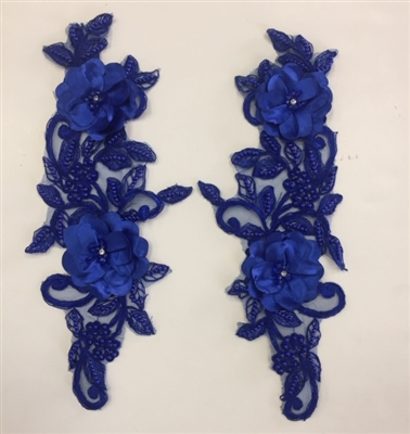 "APL-BED-120-ROYALBLUE-PAIR-3D. Pair of Beaded Appliques - 3D on Net. - ROYAL BLUE- 14.5"" x 4.5"" - Pair $7"