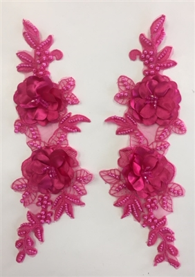 "APL-BED-121-FUCHSIA-PAIR-3D. Pair of Beaded Appliques - 3D on Net. - FUCHSIA- 14.5"" x 4.5"" - Pair $7"