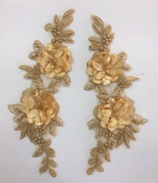 "APL-BED-121-GOLD-PAIR-3D. Pair of Beaded Appliques - 3D on Net. - GOLD - 14.5"" x 4.5"" - Pair $7"