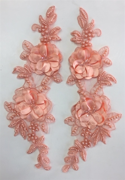 "APL-BED-121-PEACH-PAIR-3D. Pair of Beaded Appliques - 3D on Net. - PEACH - 14.5"" x 4.5"" - Pair $7"