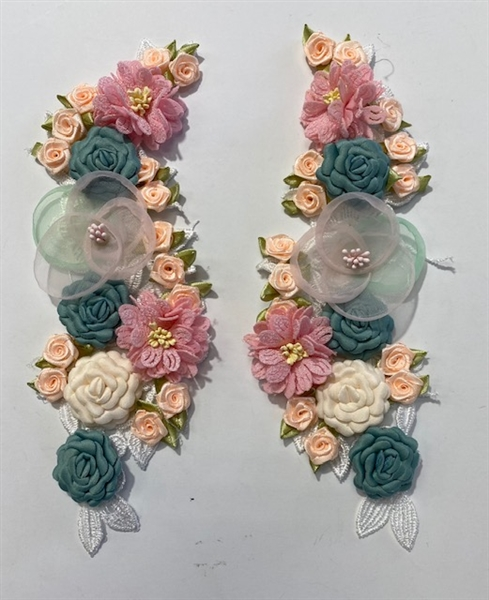 "APL-BED-122-FLORAL-PAIR-3D. Pair of Beaded Appliques - FLORAL - 10"" x 3"" - Pair $7"
