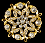 Rhinestone Brooch- Gold body with clear rhinestones