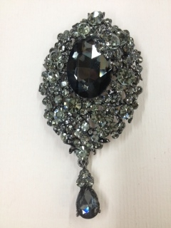 BRO-RHS-009-BLACKCRYSTAL.  BLACK CRYSTAL RHINESTONE BROOCH