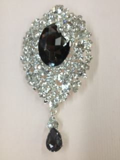 BRO-RHS-009-CLEARBLACKCRYSTAL.  CLEAR CRYSTAL WITH CENTER BLACK CRYSTAL RHINESTONE BROOCH